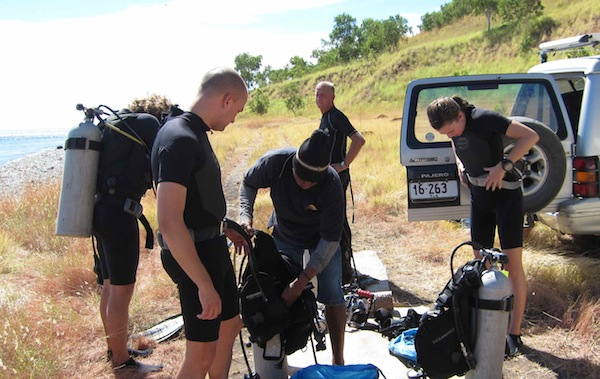Scuba diving in East Timor equipment setup coast dive