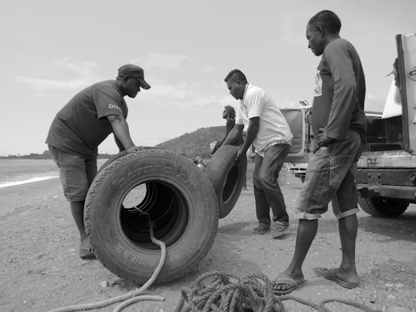 Preparing Tires to go into the water
