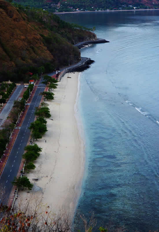 Photo taken from the top of Cristo Rey Statue looking at the beach of Timor Leste pristine beaches