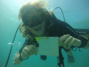 Martin reaching his 100th dive